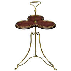 English Revolving Confection Server in Brass and Mahogany