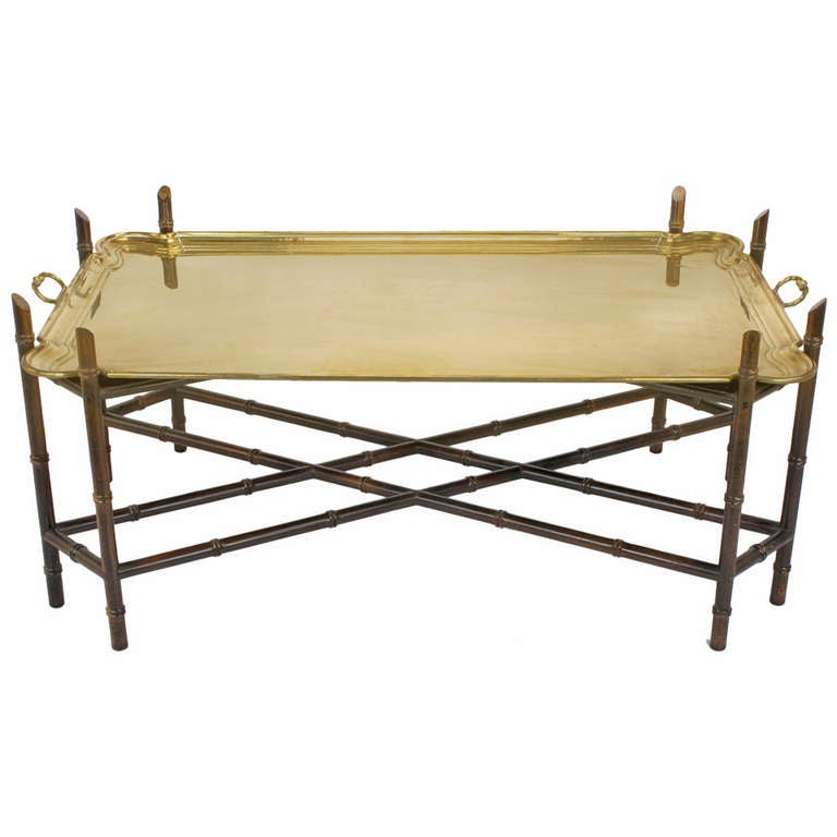 Yale Burge Bamboo Form Chinese Chippendale Brass Tray Coffee Table At 1stdibs
