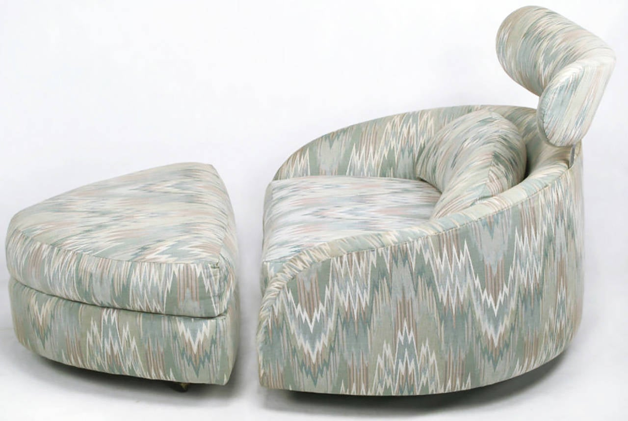 American Adrian Pearsall Swivelling Club Chair with Ottoman and Integral Headrest For Sale