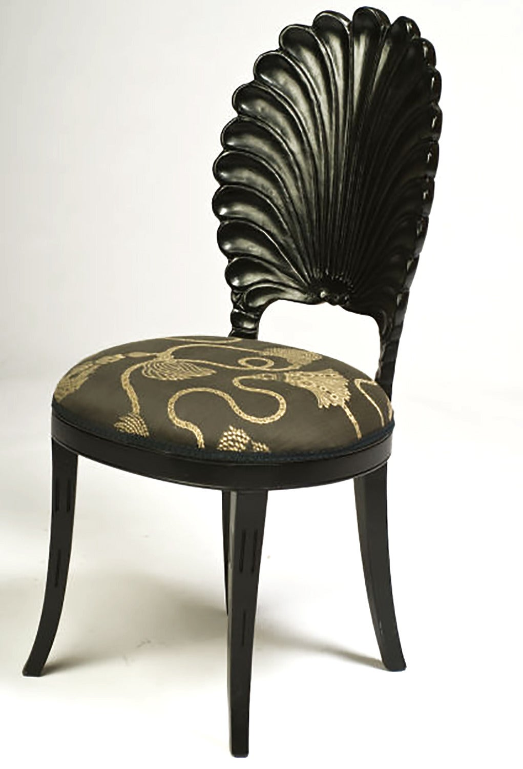 Italian Set of Four Ebonized Wood Venetian Grotto Chairs For Sale