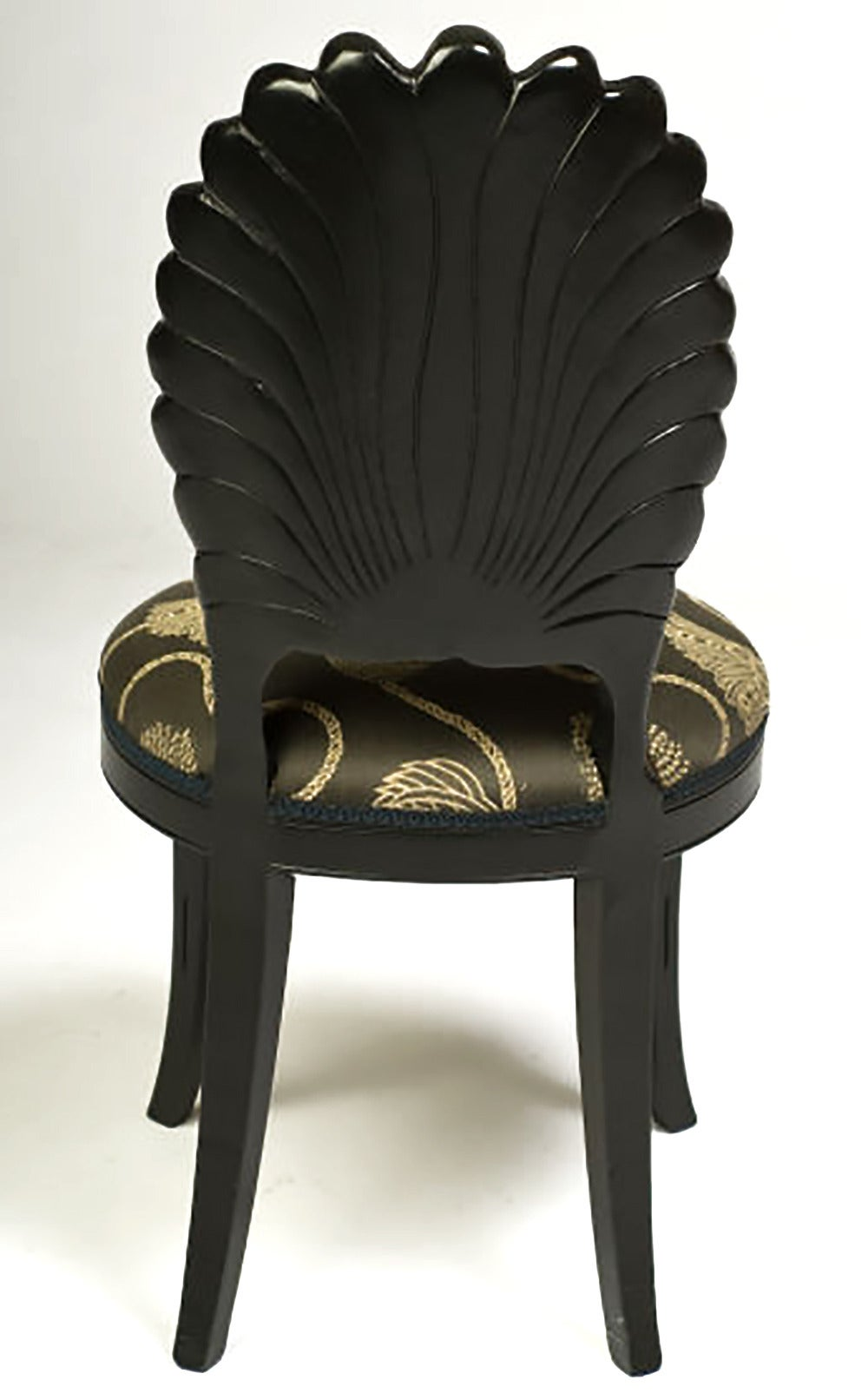 Late 20th Century Set of Four Ebonized Wood Venetian Grotto Chairs For Sale