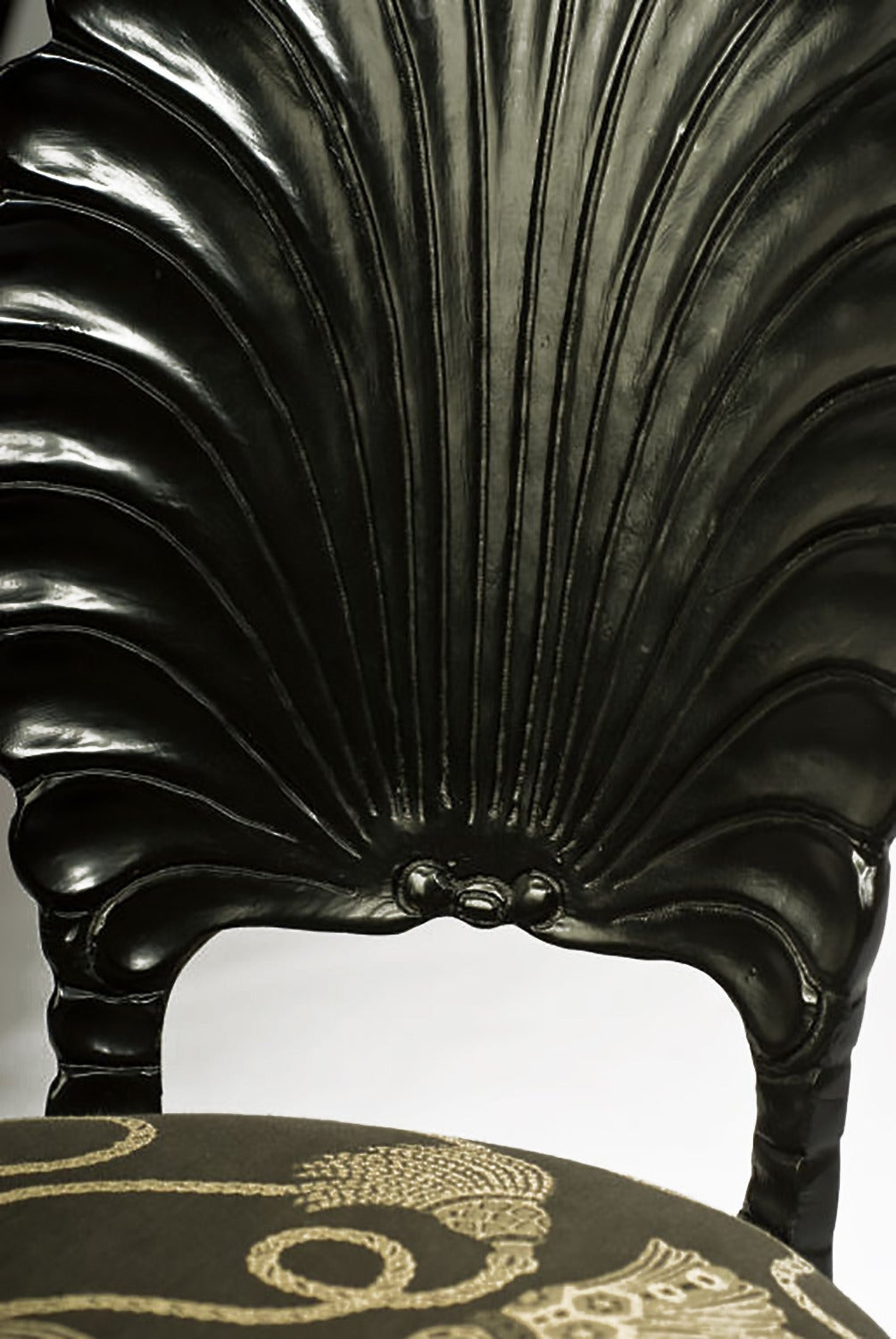 Set of Four Ebonized Wood Venetian Grotto Chairs For Sale 1