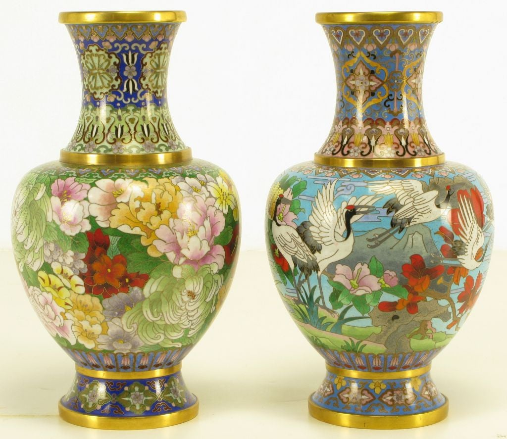 pair colorful chinese cloisonne vases at 1stdibs. Black Bedroom Furniture Sets. Home Design Ideas