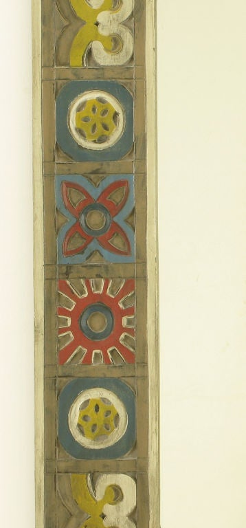 Colorful Handcarved And Polychrome Wood Folk Art Mirror At
