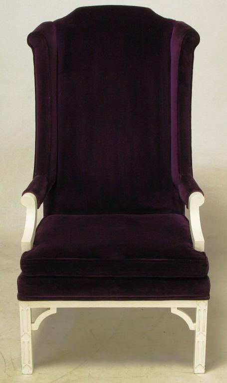 plum velvet wing chair 2