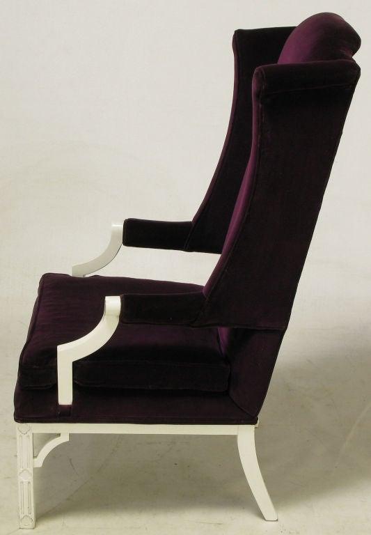 plum velvet wing chair 3
