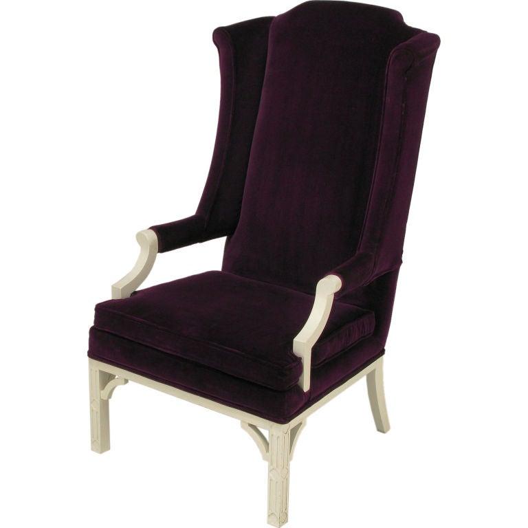 plum velvet wing chair 1