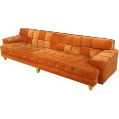 "1940s Dunbar Attr. Square Channeled & Button Tufted 108"" Sofa."