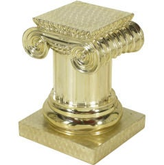 Engine Turned Silverplate Ionic Column Pedestal.