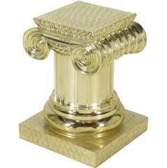 Engine Turned Silverplate Ionic Column Pedestal.