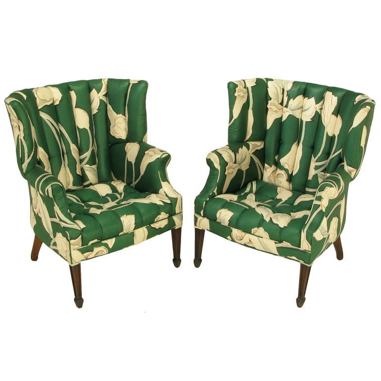 Pair Curved And Channelback Floral Upholstered Wing Chairs