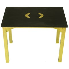 Brass & Black Granite End Table With Geometric Inlay