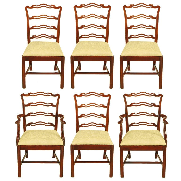 six ribbon back chippendale dining chairs for sale at 1stdibs