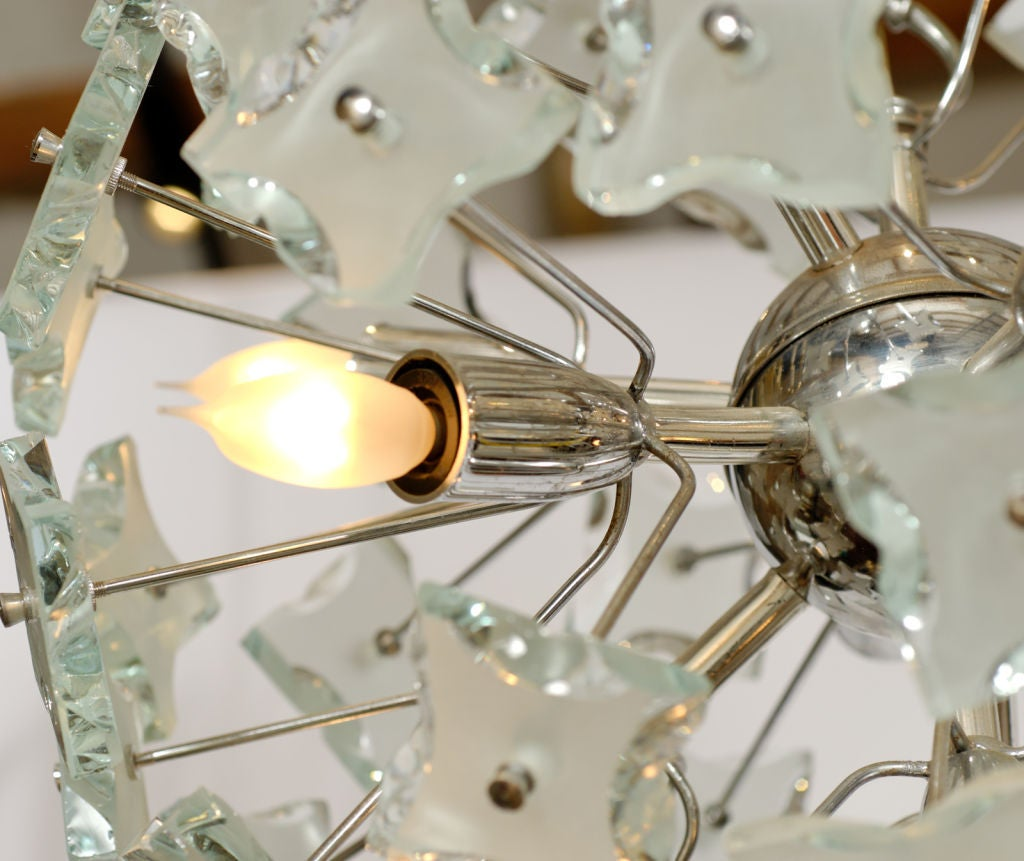 Italian Chrome & Glass Ball Chandelier