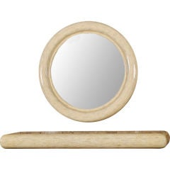 Round Tessellated Bone Mirror With Cantilevered Console Table
