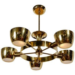 Gerald Thurston For Lightolier Solid Brass Five-Light Chandelier