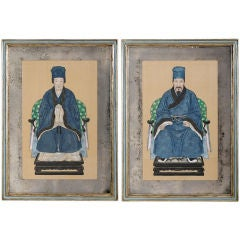 Pair Chinese Ancestor Portaits In 1930s Mirrored Mat Frames