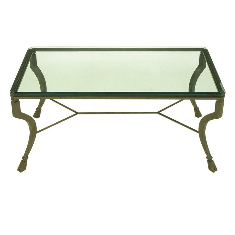 Hand wrought iron hoof foot coffee table at 1stdibs for Glass coffee table wrought iron legs