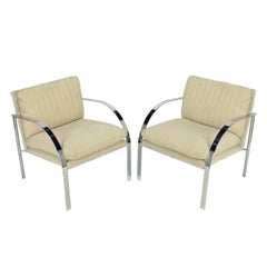 Pair Paul Tuttle Inspired Chrome Arm Chairs