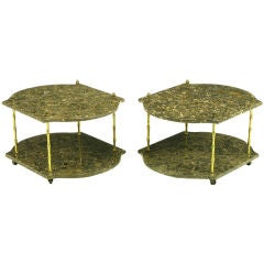 Pair Italian Marble & Bronze End Tables