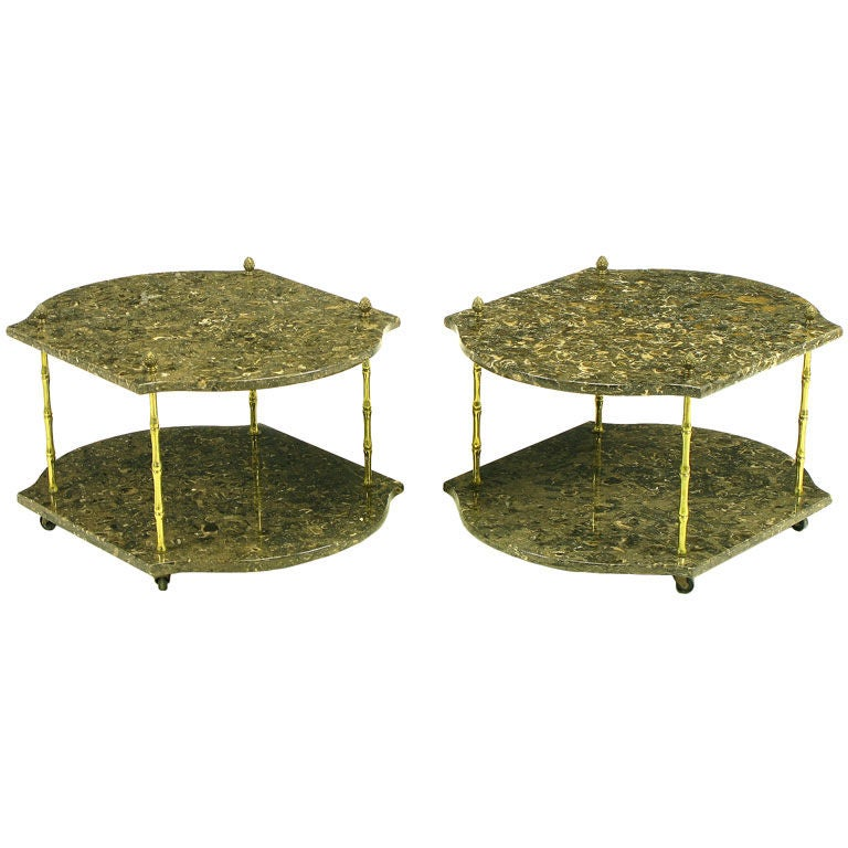 Pair italian marble and bronze end tables at 1stdibs