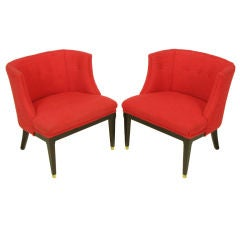 Pair Button Tufted Red Wool & Dark Walnut Pull Up Wing Chairs