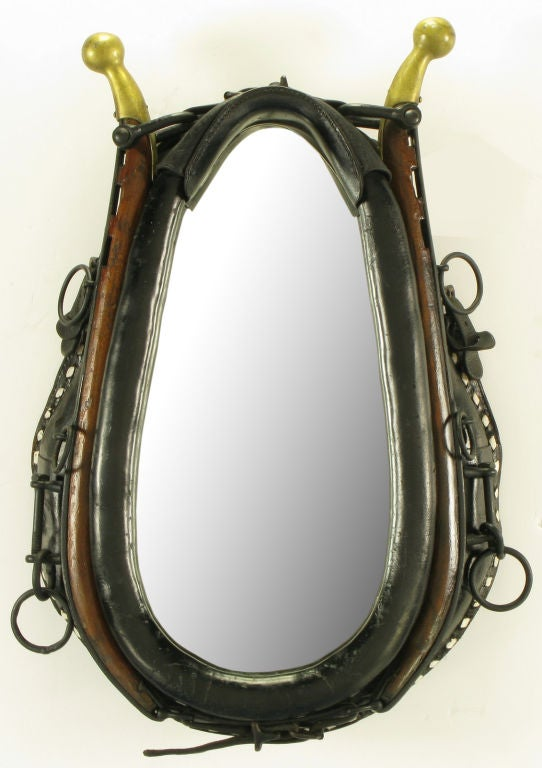 Mirror In Black Leather Horse Collar With Wood & Brass Hames 2