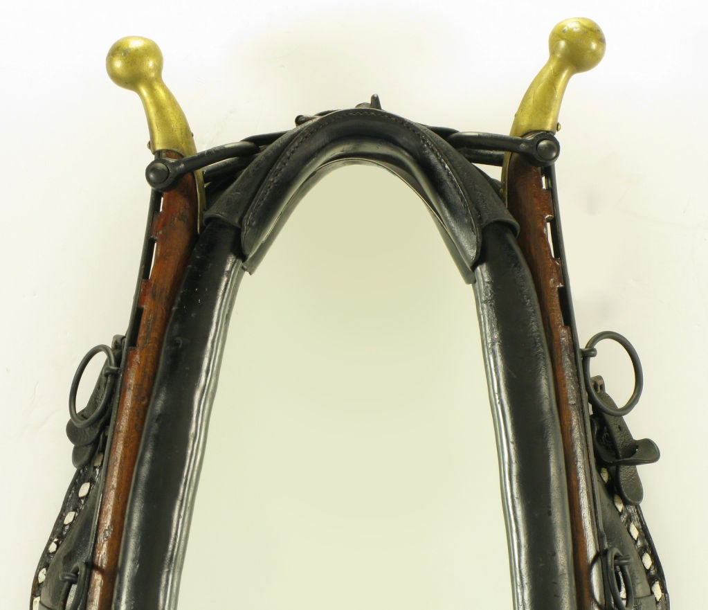 Mirror In Black Leather Horse Collar With Wood & Brass Hames 4