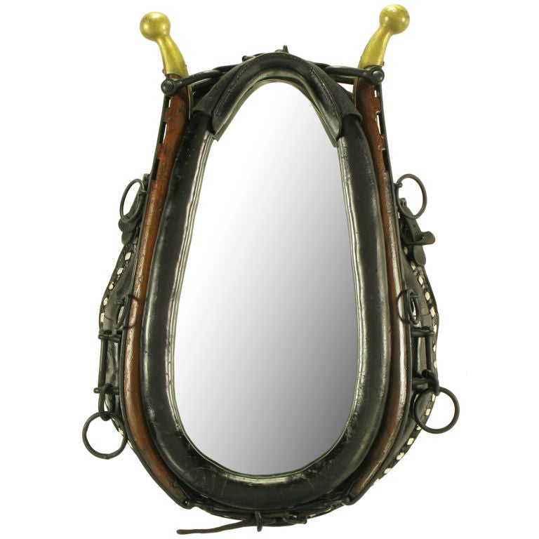 Mirror In Black Leather Horse Collar With Wood & Brass Hames 1