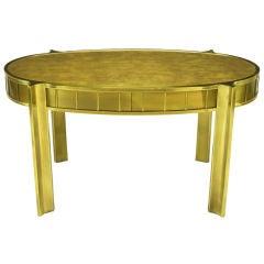 Singular Mastercraft Oval Brass & Leather Desk