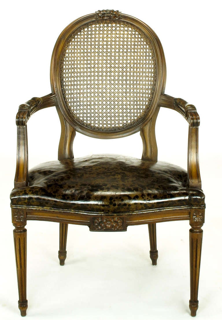 American Pair of Louis XVI Mahogany and Cane Armchairs with Tortoiseshell Leather For Sale