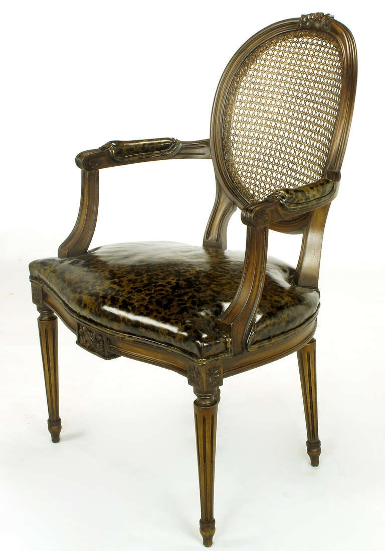 Pair of Louis XVI Mahogany and Cane Armchairs with Tortoiseshell Leather In Good Condition For Sale In Chicago, IL