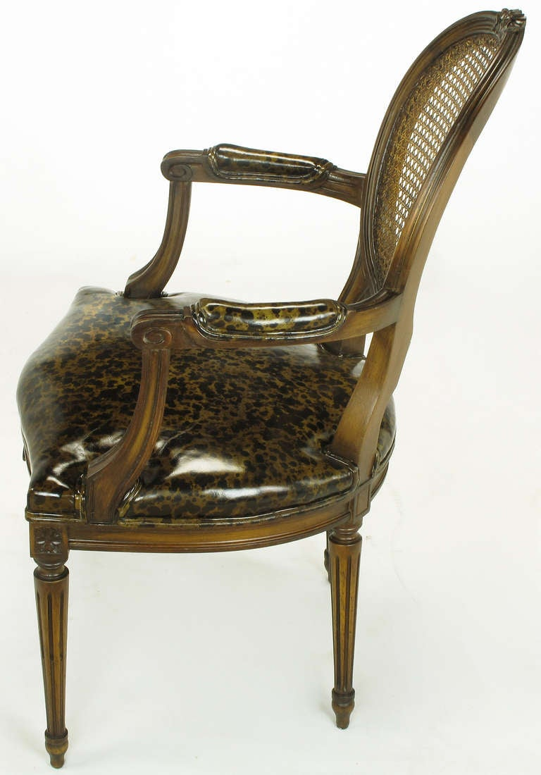 Mid-20th Century Pair of Louis XVI Mahogany and Cane Armchairs with Tortoiseshell Leather For Sale