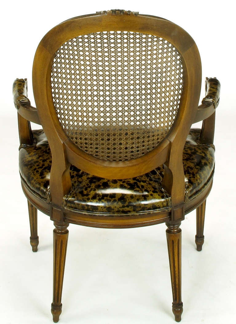 Pair of Louis XVI Mahogany and Cane Armchairs with Tortoiseshell Leather For Sale 1