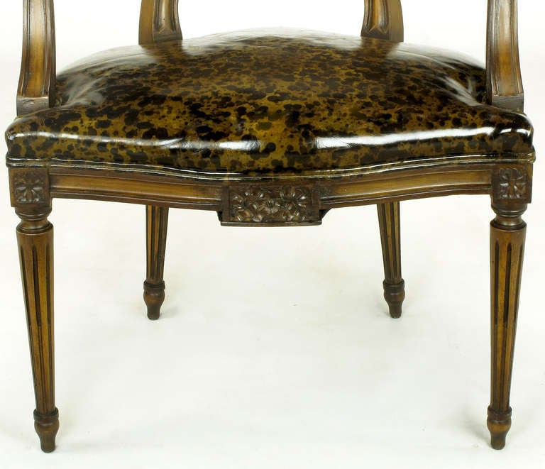 Pair of Louis XVI Mahogany and Cane Armchairs with Tortoiseshell Leather For Sale 3