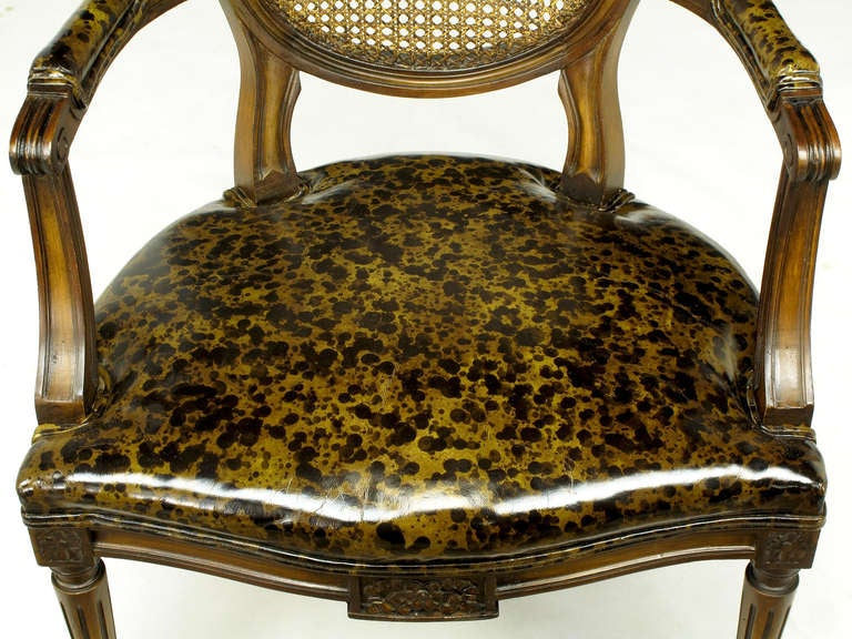 Pair of Louis XVI Mahogany and Cane Armchairs with Tortoiseshell Leather For Sale 5