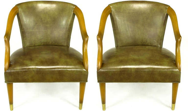 Pair Cocheo Maple Wood And Olive Glazed Leather Open Arm