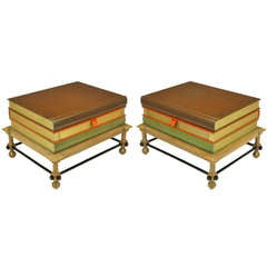 Pair Rare John Dickinson Stacked Books End Tables.