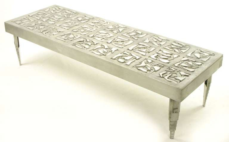 Artist Signed 73 Cast Aluminum Abstract Relief Coffee Table At 1stdibs