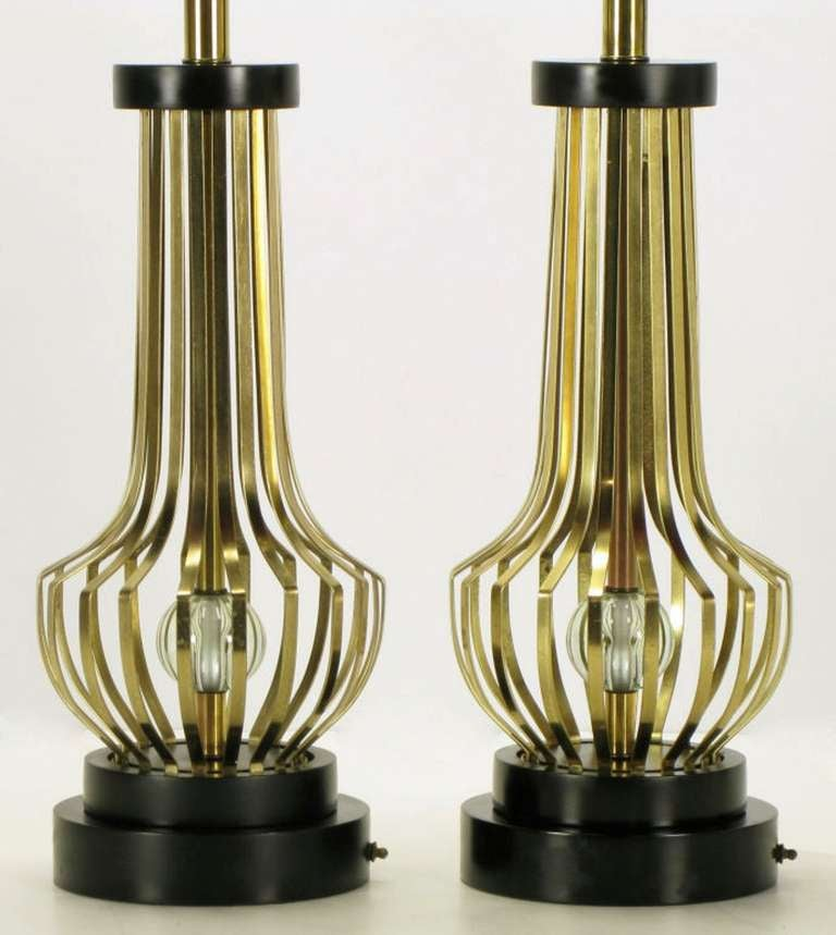 Pair Rembrandt Brass Open Rib Table Lamps With Crystal