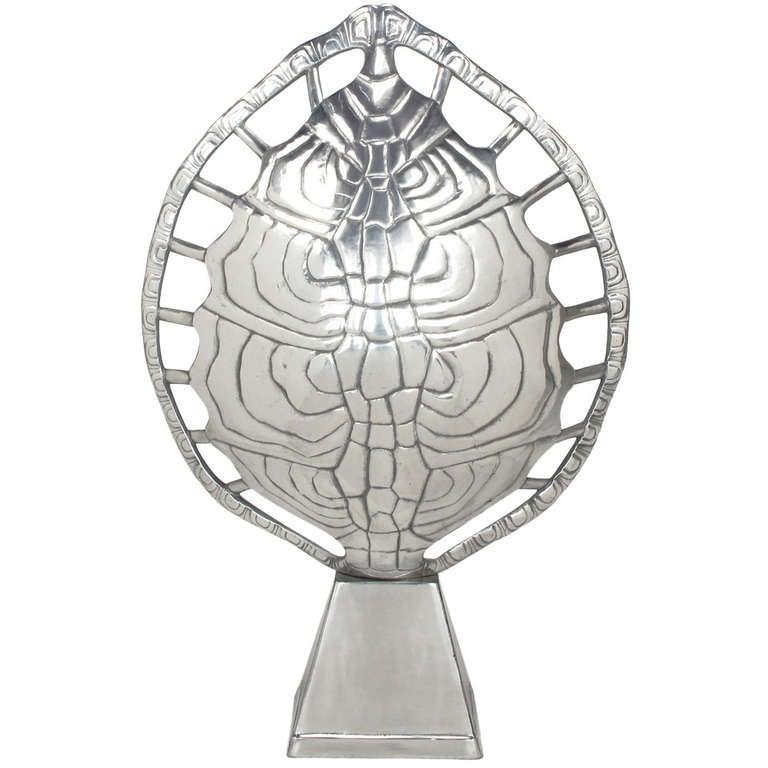Arthur Court Polished Aluminum Tortoise Shell Lamp