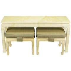 Henredon Goatskin Lacquer Chinoiserie Console and Benches