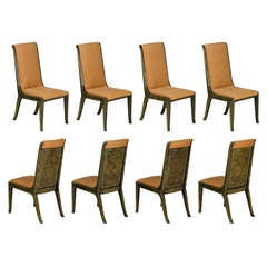 Eight Mastercraft Amboyna Burl and Brass Dining Chairs