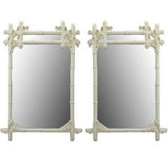 Pair Gampel-Stoll White Lacquered Stylized Bamboo Mirrors