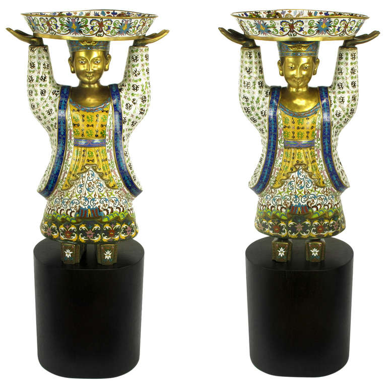 Pair of Rare and Palatial, Cloisonne Vessel-Bearing Figures