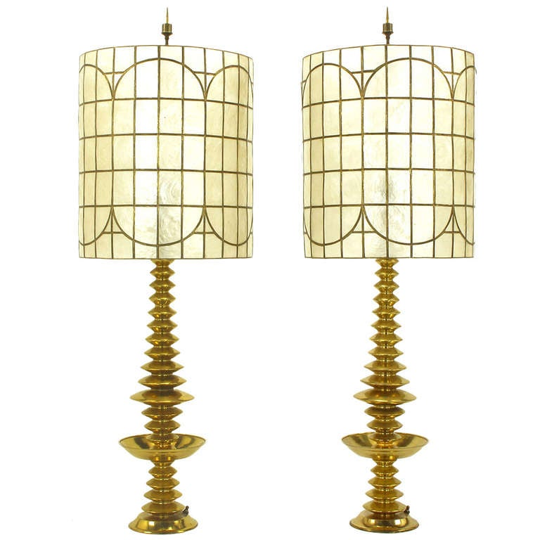 Pair of Brass Art Deco, Stacked Discs Table Lamps with Capiz Shell Shades