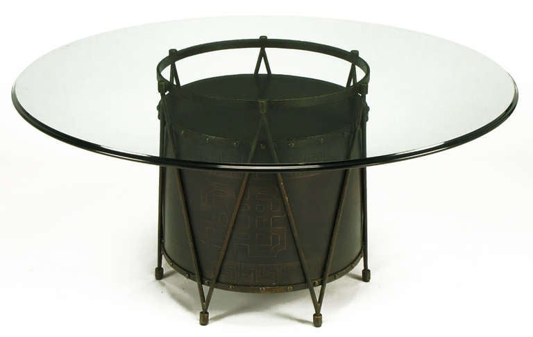 American Bronze Drum-Form Games or Dining Table Base with Greek Key Design For Sale
