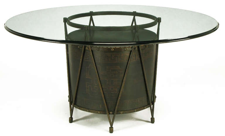 Bronze Drum-Form Games or Dining Table Base with Greek Key Design In Good Condition For Sale In Chicago, IL