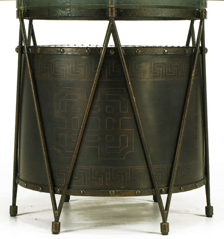 Mid-20th Century Bronze Drum-Form Games or Dining Table Base with Greek Key Design For Sale