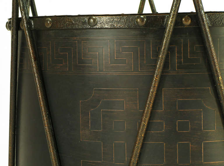 Bronze Drum-Form Games or Dining Table Base with Greek Key Design For Sale 1
